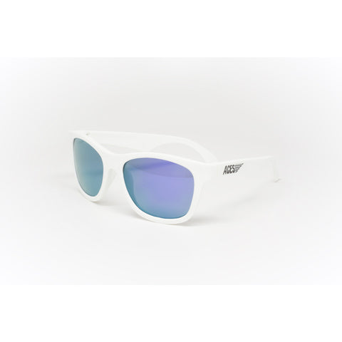 Babiators Aces Aviators Wicked White Kids Sunglasses with Blue Lens Ages 7-14 - Toyabella.com