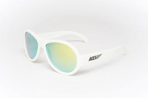Babiators Aces Aviators Wicked White Kids Sunglasses with Orange Lens Ages 7-14 - Toyabella.com