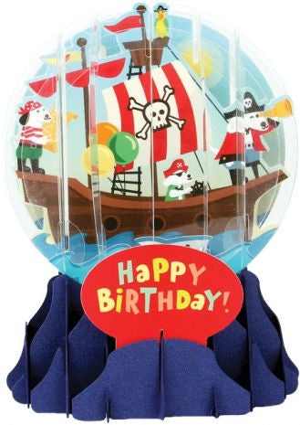 Pop-Up Snow Globe Greeting Card - Pirate Dog - Toyabella.com