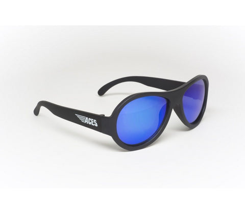 Babiators Aces Aviators Black Ops Kids Sunglasses with Blue Lens Ages 7-14 - Toyabella.com