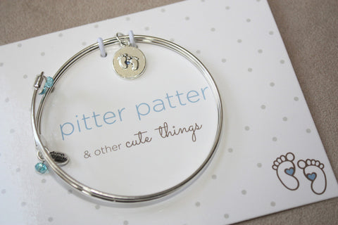 Pitter Patter - Baby Feet - Meaningful Message Bracelet Set for Mom or Mommy to be BLUE - Toyabella.com