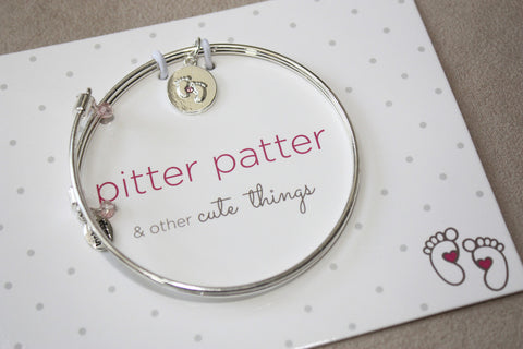 Pitter Patter - Baby Feet - Meaningful Message Bracelet Set for Mom or Mommy to be PINK - Toyabella.com