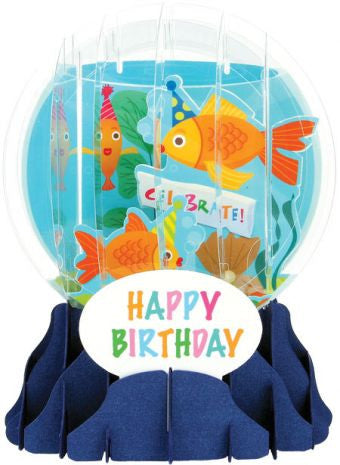 Pop-Up Snow Globe Greeting Card - Goldfish - Toyabella.com