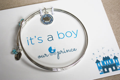 Royalty - Crown - Meaningful Message Bracelet Set for Mom or Mommy to be / BLUE - Toyabella.com