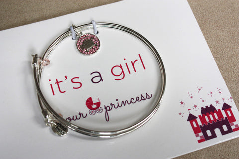 Royalty - Crown - Meaningful Message Bracelet Set for Mom or Mommy to be / PINK - Toyabella.com