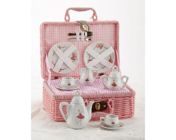 Delton Products Ballerina Porcelain Tea Set For Two in Basket - 18 Pieces - Toyabella.com