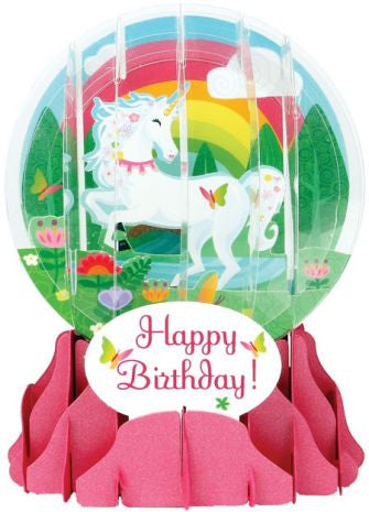 Pop-Up Snow Globe Greeting Card - Unicorn - Toyabella.com