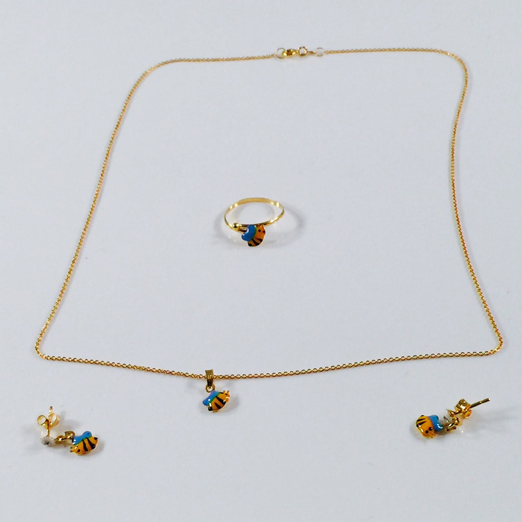 Exclusive Children's Collection 22 Kt Gold Busy Bee Jewelry Set