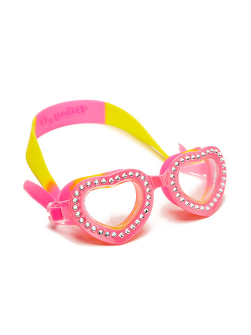Bling2o Children's Heart-Shaped Swim Goggles - Summer Love Swirl Solar Pink - Toyabella.com