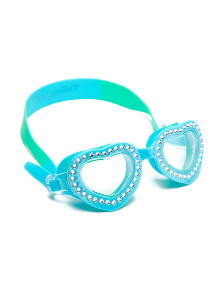Bling2o Children's Heart-Shaped Swim Goggles - Summer Love Swirl Blue Bubblegum - Toyabella.com