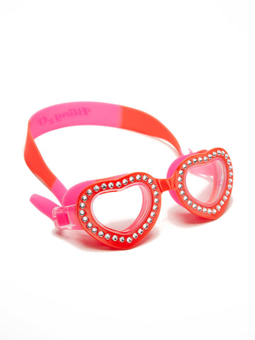 Bling2o Children's Heart Shaped Swim Goggles - Summer Love Swirl Mango Tango - Toyabella.com