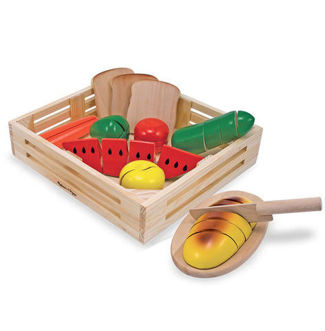 Melissa & Doug Cutting Food - Wooden Play Food - Toyabella  - 1