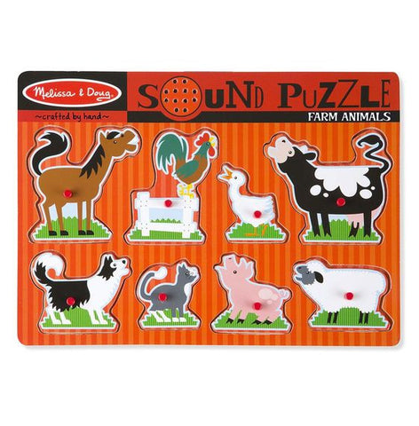 Melissa & Doug Farm Animals Sound Puzzle - 8 Pieces - Toyabella  - 1