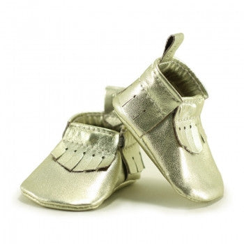 Newborn Mally Mocs / Metallic Gold - Toyabella.com