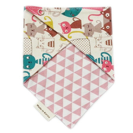 Cats and Triangle Reversible Scarf Bib by Oli & Belle - Pink Cat - Toyabella.com