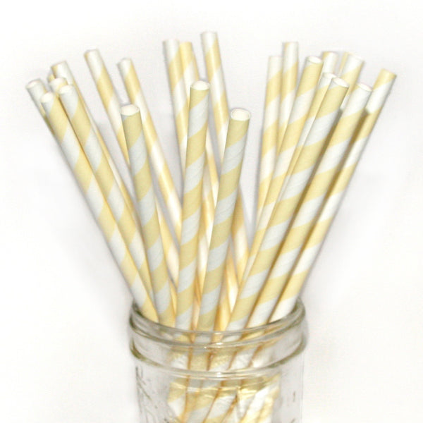 Ivory Striped Paper Straws 25pc pack - Toyabella.com