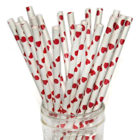Red Heart Paper Straws 25pc pack - Toyabella.com