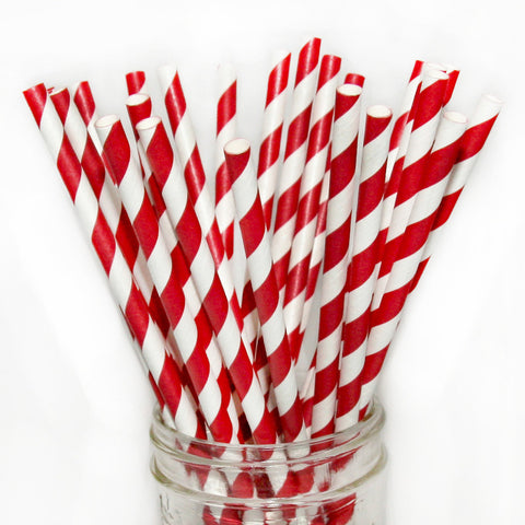 Red Striped Paper Straws 25pc pack - Toyabella.com