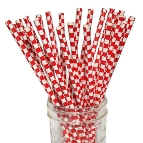 Red White Checkered Paper Straws 25pc pack - Toyabella.com