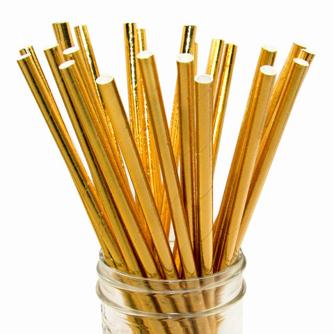 Solid Gold Foil Paper Straws 25pc pack - Toyabella.com