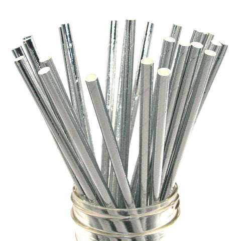 Solid Silver Foil Paper Straws 25pc pack - Toyabella.com