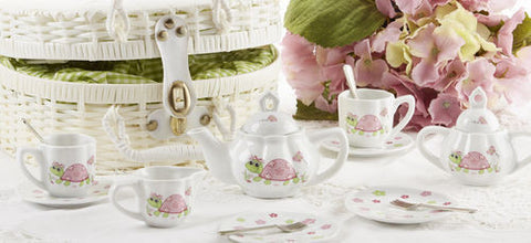 Delton Products Turtle Porcelain Tea Set for Two in a Basket - Toyabella.com