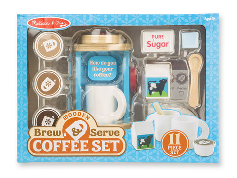 Melissa & Doug Wooden Brew & Serve Coffee Set - Toyabella  - 1