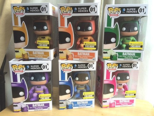 Funko BATMAN 75th ANNIVERSARY LIMITED EDITION RAINBOW COLOR POP FIGURE SET - ALL SIX COLORS