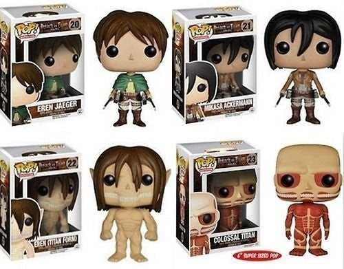 FunKo POP Anime: Attack on Titan - Set of 4 Eren Jaeger, Mikasa Ackerman, Eren Titan Form & 6'' Colossal Titan