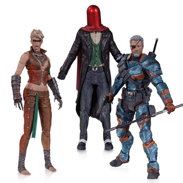 DC Collectibles Batman Arkham Origins: Copperhead, The Joker as Red Hood, and Deathstroke Unmasked Action Figure (3-Pack)