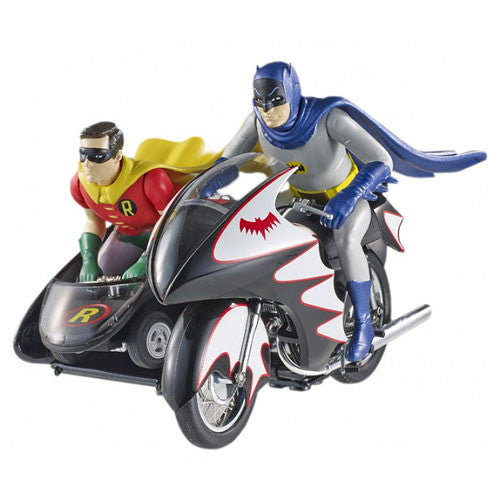 Batman Classic 1966 TV Series 1:12 Batcycle with Figures Hot Wheels Elite Die-Cast Vehicle