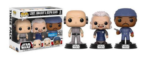 FUNKO Star Wars Walmart Exclusive cloud city 3 pack Lobot, Ugnaught, and Bespin Gaurd