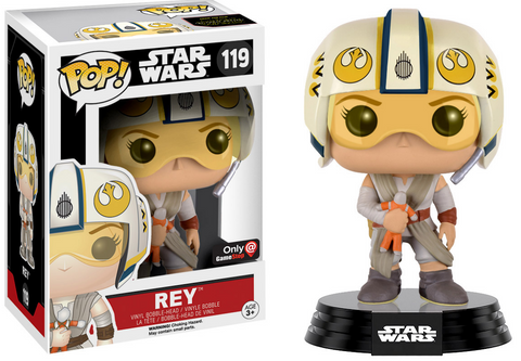 STAR WARS FUNKO Rey with helmet Game Stop Exclusive