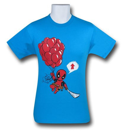 Deadpool Balloons Blue T Shirt