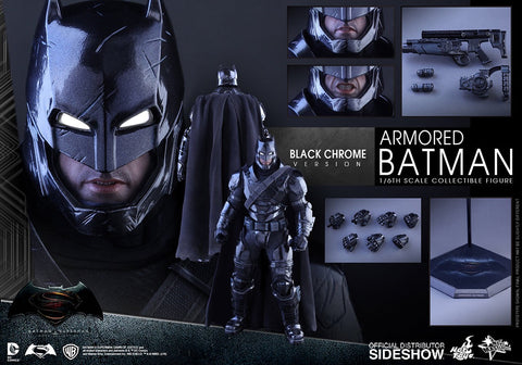 Hot toys sideshow black chrome armor batman (batman vs superman)