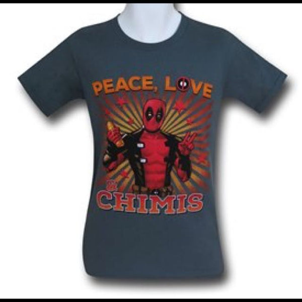Peace Love Deadpool Grey T Shirt