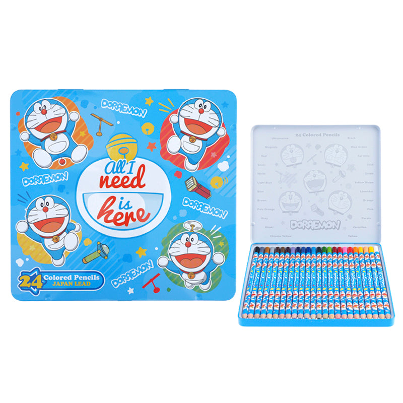 Doraemon 24 Colors Pencil Metal Box 24色鐵盒木顏色