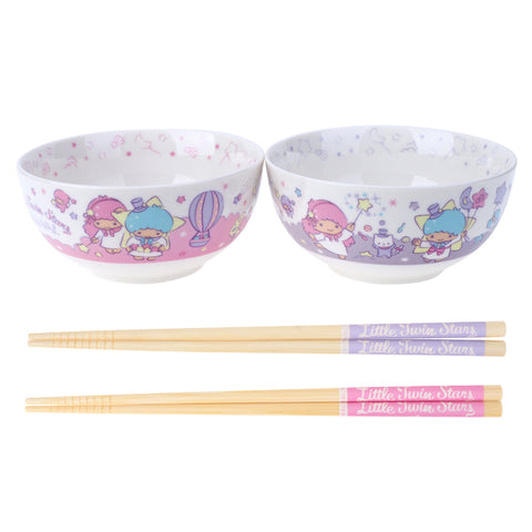 Little Twin Stars Twin Ceramic Bowls & Chopsticks Gift Set 陶瓷對裝碗筷套裝
