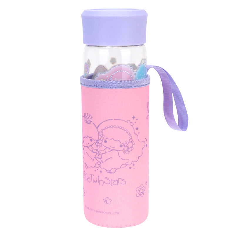 Little Twin Stars 400ML Glass Water Bottle With Tea Filter & Pouch 耐熱玻璃水樽連不銹鋼茶隔及隔熱袋