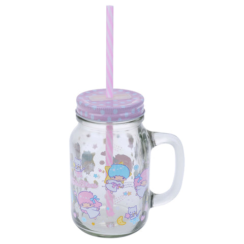 Little Twin Stars 600ml Mason Jar Mug 玻璃罐水杯