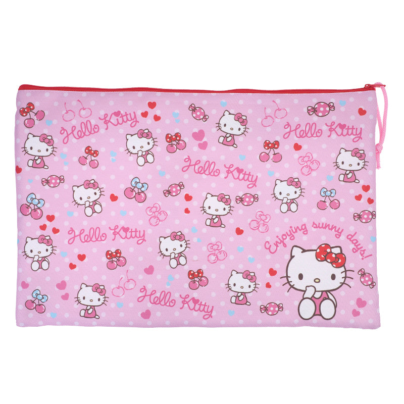Hello Kitty F4 Double Zipper Fabric Document Bag 雙拉鍊布文件袋