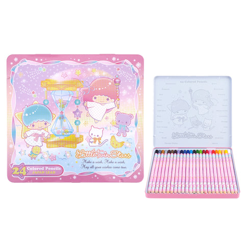 Little Twin Stars 24 Colors Pencil Metal Box 24色鐵盒木顏色