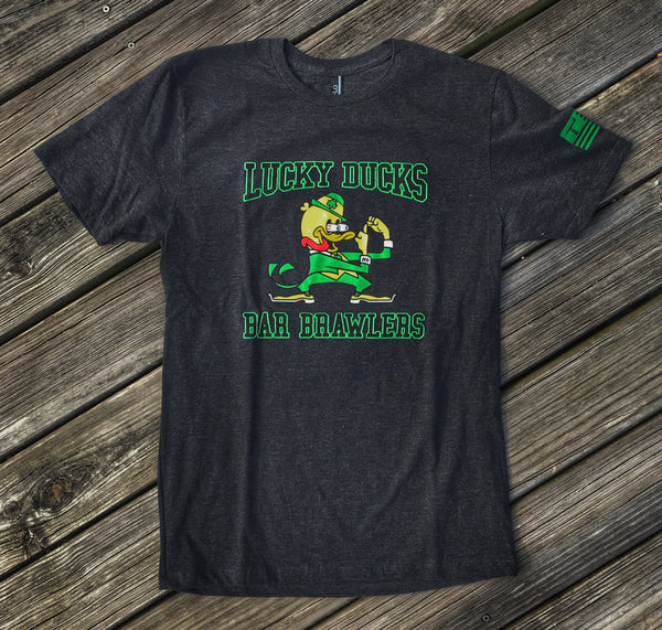 ZERO FUCKS DUCK 2018 ST. PATTY'S LUCKY DUCK 'BAR BRAWLERS' T-SHIRT - BLACK HEATHER