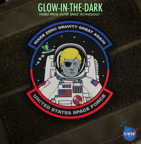 Donald Trump USSF Space Force 3D PVC Morale Patch - Glow In The Dark