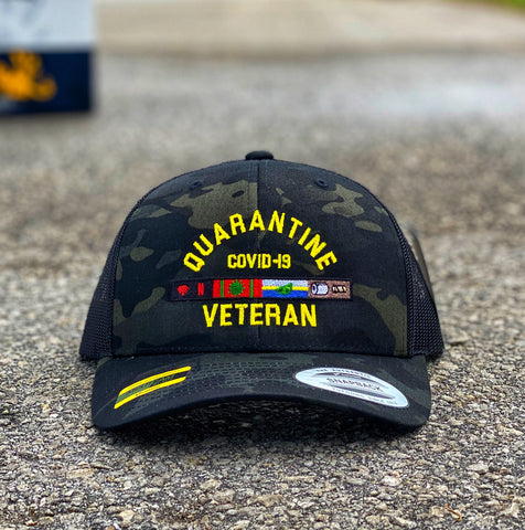 🦠 NEW 🦠 Dangerous Goods™️ Quarantine Veteran™️ Morale Trucker Hat - Multicam Black