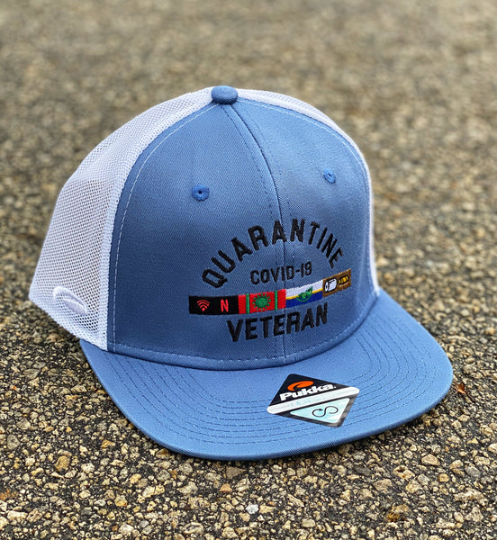 🦠 NEW 🦠 Dangerous Goods™️ Quarantine Veteran Trucker Hat - Ocean Blue / White Mesh