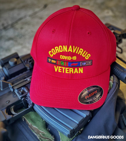 🇺🇸 NEW 🇺🇸 Dangerous Goods™️ Coronavirus Veteran Flexfit Hat - Red