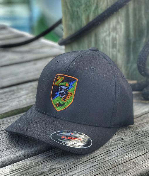 "ZERO FUCKS DUCK ""ZFD"" RECON EQUIPMENT DIVISION SHIELD FLEX FIT HAT - BLACK OPS"