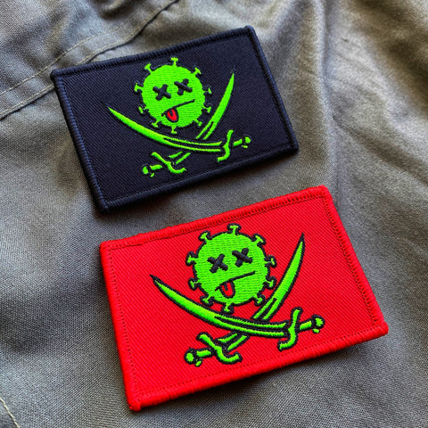 Dangerous Goods Calico Corona Pirate Flag Morale Patch - 2 Color Options