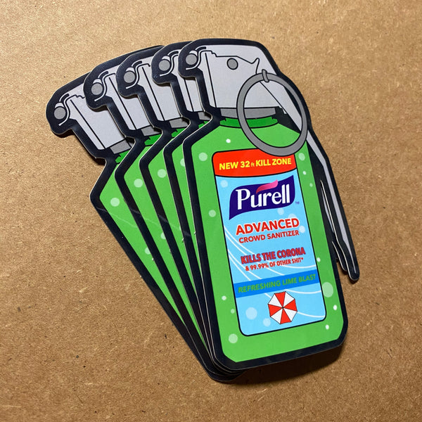 Dangerous Goods Purell Grenade Crowd Sanitizer Sticker